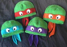 Hand-knit teenage mutant ninja turtle hat with ribbed or rolled bottom edge.  COWABUNGA!