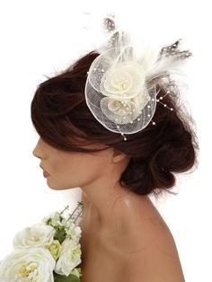 Elegant Cream Rose Design Hair Clip Grip Fascinator Hatinator Feather Pearl bead
