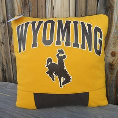 Upcycle Wyoming Cowboys Tee Shirt Pillow 16 X 16 by MossEmbroidery, $20.00