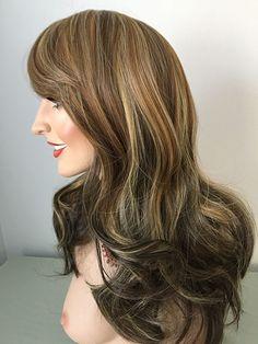 blonde, auburn, brown, Mid length wig, extra long bangs
