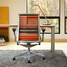 Think in Cogent: Connect Tangerine with a platinum frame and base and a Currency Martin Desk