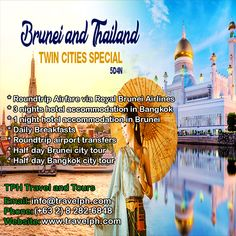 5 DAY TWIN CITIES BRUNEI & THAILAND (With Round Trip Airfare via Brunei Airlines) Minimum of 2 persons  For more inquiries please call: Landline: (+63 2) 8 282-6848 Mobile: (+63) 918-238-9506 or Email us: info@travelph.com #Brunei #Thailand #TravelPH #TravelWithNoWorries Bangkok City Tour, Royal Brunei Airlines, Round Trip, Twin Cities, Taj Mahal, Thailand, Tours, Day, Travel