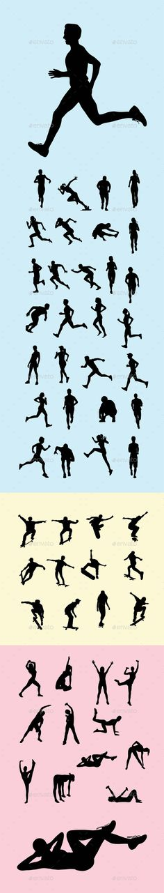 Buy Running Silhouettes by martinussumbaji on GraphicRiver. Running, Skateboards and gym sport Silhouettes, art vector design. Ai CS, JPEG and EPS. I hope you like my design, th. Running Silhouette, Silhouette S, Runner Tattoo, Running Medals, Athletic Events, People Running, Track And Field, Stay Fit, Vector Design