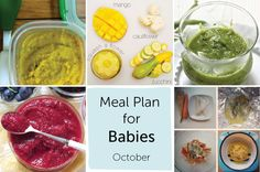 October is a transition month for your Meal Plan for Babies guide, it's  still hot enough to let us use up the last of summer's ripe berries and our  bounty of squash and zucchini but not cold enough to dive into the root  vegetables and roasting of everything and anything [we will save that for  next month].