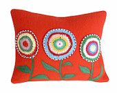 RED Throw Pillows, Appliqued Crocheted Flower, Repurposed Wool Blanket Pillow, Christmas Gift, Unique Eclectic Rustic Cottage Chic 14x18