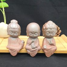 Creative Little Buddha Statues Ands Purple Clay Tea Pet Accessories Ornaments Sculpture Clay, Garden Sculpture, Little Buddha, Pet Accessories, Buddha Statues, Zen, Religion, Purple, Creative