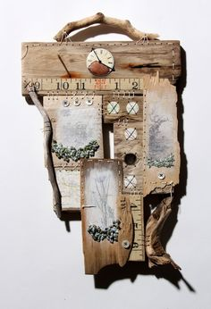 Collage textile art by Ali Ferguson - Period Living Mixed Media Collage, Collage Art, Collages, Flotsam And Jetsam, Creation Art, Find Objects, Driftwood Art, Assemblage Art, Wooden Art