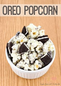 Oreo Popcorn is a delicious sweet popcorn snack. It is quick and easy to make with only three ingredients (Oreo cookies, white chocolate and popcorn). This cookies and cream dessert popcorn will be loved by everyone. - Oreo Popcorn Recipe on Sugar, Spice