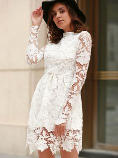 Elegant Round Neck Long Sleeve Bowknot Embellished Lace Dress For Women