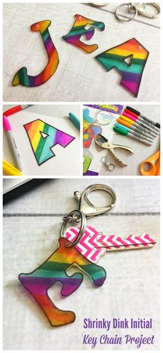 Our Shrinky Dink Initial Key Chain Project is a fun craft and makes a cute little gift, too! #DIYgift #BoredomBuster