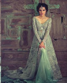 Mint green bridal lehenga. Pakistani bridal fashion