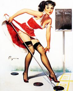 """Aiming To Please"" by Gil Elvgren, 1960"