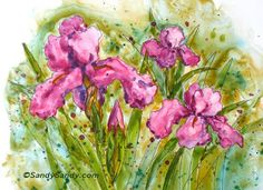 """*SANDY SANDY ART*: Irresistible Irises -5.5"""" x 7.5"""" hand painted original watercolor on Yupo paper, matted - $85.  acid free, white core mat with foam core backing in an acetate sleeve  fits a standard 8"""" x 10"""" frame / SOLD /    http://www.sandysandyart.com/2013/05/irresistible-irises_19.html"""