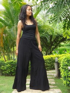 Wide Leg Pants  ...Flared Pants ...Color Black by Ablaa on Etsy, $33.00