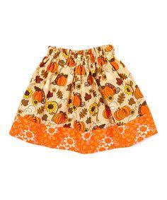Look what I found on #zulily! Orange Pumpkin Flower-Trim Twirl Skirt - Infant, Toddler & Girls #zulilyfinds