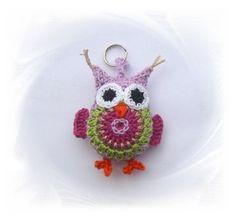 gehäkelter Schlüsselanhänger Eule flieder, owl key chain, Taschenbaumler