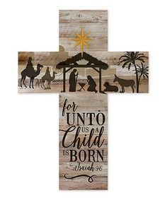 This 'A Child Is Born' Cross Wall Sign by P. Graham Dunn is perfect! #zulilyfinds