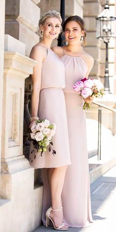 Color inspiration: 18 Blush Bridesmaid Dresses ❤ See more: http://www.weddingforward.com/blush-bridesmaid-dresses/ #weddings