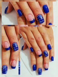 Blu infinito french fiori strisce argento glitter