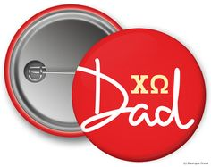 ChiO Chi Omega Dad Sorority Greek Button by BoutiqueGreek on Etsy