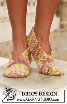 """Ravelry: 111-31 Knitted slippers in 2 threads """"Fabel"""" pattern by DROPS design"""