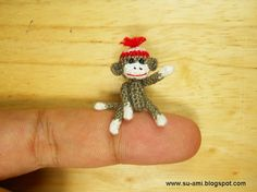 Miniature Sock Monkey With Hat - Micro Thread Crochet Animals - 1 Inch Scale Grey Sock Monkey