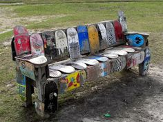 Bench of skateboards