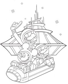 Coloring Pages Tomarrowland Space Mountain Mickey Goofy Pluto Disneyland Walt