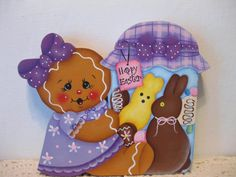HP Gingerbread Easter candy Jar SHELF SITTER hand painted USA