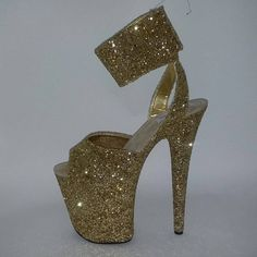 Beautiful handmade shoes made by professional shoemakers in Russia. Our shoes are fabulous to wear for Heels Dance, Burlesque, Strip Dance, Exotic Dance, Pole Dance, Club Dancing, Prom, Weddings and Photoshoots. Upper of the shoe is made in gold glitter fabric. Shoe is made with open