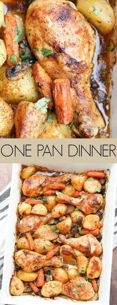 One Pan Chicken & Potatoes with Vegetables Great and simple One-Pan Baked Chicken and Potatoes with vegetables that tastes phenomenal with minimal prep time. A phenomenal one pan meal for busy evenings! Chicken Legs And Potatoes Recipe, Baked Chicken Legs, One Pan Chicken, Baked Chicken Recipes, Recipe Chicken, Easy Chicken Drumstick Recipes, Baked Chicken With Vegetables, Meat And Potatoes Recipes, Chicken Potato Bake