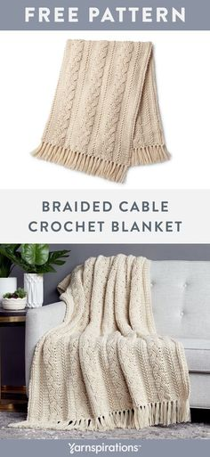 Yarnspirations is the spot to find countless free intermediate crochet patterns, including the Caron Cable Crochet Blanket. Browse our large free collection of patterns & get crafting today! Crochet Bedspread Pattern, Afghan Crochet Patterns, Crochet Afghans, Crochet Stitches, Crochet Gratis, Free Crochet, Cable Pattern Free, Cable Knit Blankets, Crochet Blankets