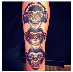 HEAR No Evil, SEE No Evil & SPEAK No Evil . tattoo done at Kat Von D's High Voltage Tattoo shop in LA.