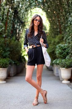5 Casual Ways To Wear A Button-Up Shirt / This look feels put-together yet completely relaxed. Throw on some comfy high-waisted shorts and knot a pretty button-up to achieve this chic pairing.