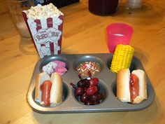 Cute idea for kids....serve their dinner in a little muffin tin..it looks like a Kid Cuisine kinda thing
