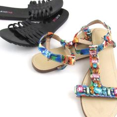 81ae8b686a46 JustFab Sandals Size 7.5 Womens Lot of 2 Black Multicolor Jeweled T-Strap  Slides