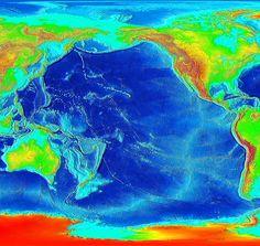 Pacific Ocean seafloor and land elevations