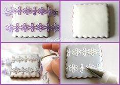 My little bakery--use lace as a stencil and spray over it, then pipe your design!