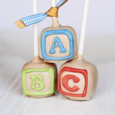 ABC Baby Shower Block cake pop by EntirelySweet on Etsy, $30.00