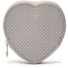Fossil Heart Coin Purse Sl6898055 Color: Mineral Grey Wallet ($45) ❤ liked on Polyvore featuring bags, wallets, gray leather wallet, fossil bags, change purse, grey leather wallet and coin pouch