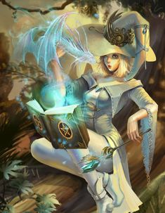 White witch with the Great Dracorum Fantasy Witch, 3d Fantasy, Witch Art, Fantasy Warrior, Fantasy Women, Anime Fantasy, Fantasy Girl, Fantasy Artwork, Dark Fantasy