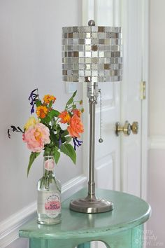 How to Make a Mosaic Tile Lamp Shade - Want to make a lamp shade that will bring some style and bling to your home? All you need are a few mo…