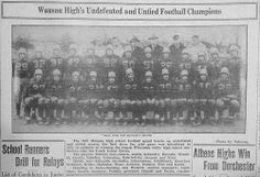 Nov. 23, 1933 - Wausau High School's undefeated and untied football champions. This was the first time Wausau High School held such a record since football was introduced at the school.
