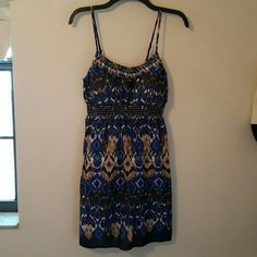 """No Boundaries Blue Multi-colored Sundress 100% cotton blue multi colored sundress. Padded chest. Adjustable spaghetti straps. Size Large, 11 / 13. Measures 16""""across at chest lying flat. Measures 30"""" from fabric at straps to the hem. No Boundaries Dresses"""
