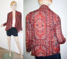 ECOTE Anthropologie Brown Ethnic Open Front Asymmetrical Draped Hem Jacket Top S