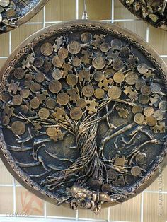 Funky Decor Coin Art Arts And Crafts Diy Crafts Money Trees Tree Art Diy Hanging Mixed Media Art Firewood
