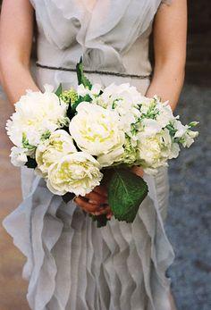 gray dress + white flowers