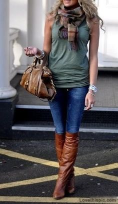 Fall Outfit fashion green boots denim scarf fashion photography