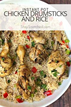 Instant Pot Chicken Drumsticks and Rice (Arroz Con Pollo) is a quick and easy pressure cooker recipe with Cuban seasonings and Spanish rice. This recipe is perfect for weeknight dinners or advanced meal prep. Instant Pot Drumstick Recipe, Instant Pot Chicken Drumsticks Recipe, Rice Instant Pot Recipe, Chicken Drumstick Recipes, Chicken Recipes, Instant Rice, Turkey Recipes, Dark Meat Chicken Recipe, Chicken And Rice Crockpot