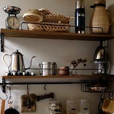 Lateさんの、キッチン,DIY,ドライフラワー,ラッセルホブス,見せる収納,工房アイザワ,竹かご,タカヒロ ドリップポット,8koちゃんからの素敵便♡,のお部屋写真